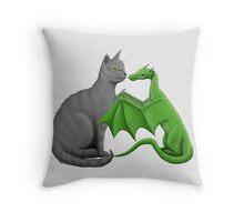 Gray Cat Meets Tiny Olive Dragon Throw Pillow