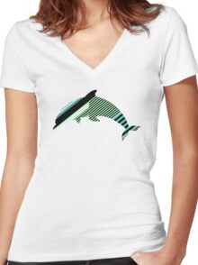 Abstract Striped Island Women's Fitted V-Neck T-Shirt