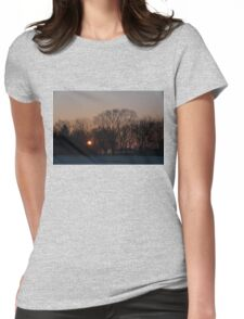 Sunrise Walk Through the Park Womens Fitted T-Shirt