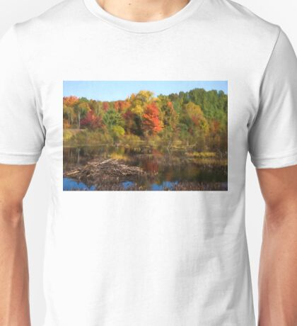 Autumn Beaver Pond Reflections Unisex T-Shirt