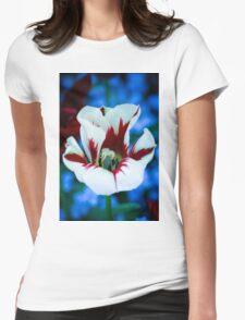 Red & White Iris Womens Fitted T-Shirt