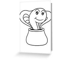 Summon incantation pot cobra snake sweet cute little comic cartoon Greeting Card