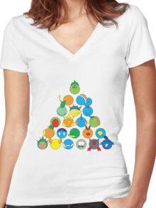 Pokemon Starter Pyramid Women's Fitted V-Neck T-Shirt