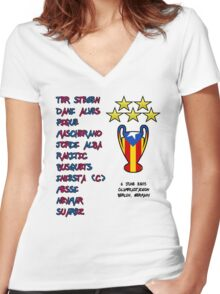 Barcelona 2015 Champions League Final Winners Women's Fitted V-Neck T-Shirt