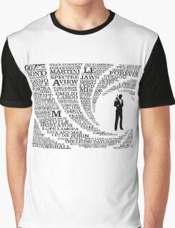 Iconic James Bond Typography Art Graphic T-Shirt