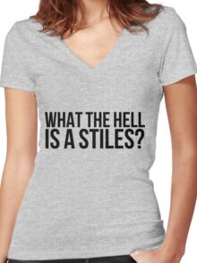 What the hell is a Stiles? - black text Women's Fitted V-Neck T-Shirt