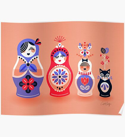 Russian Nesting Dolls – Pink & Lavender Poster