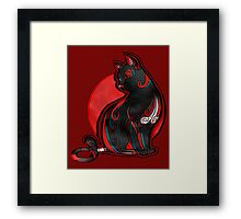 Artistic Abstract Black Cat with 3D effect Framed Print