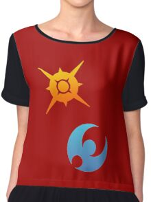 Pokemon Sun and Moon Symbols Chiffon Top