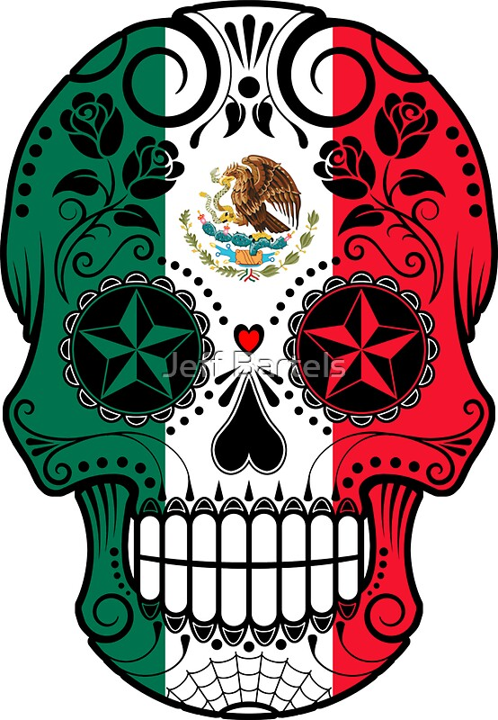 Quot Sugar Skull With Roses And Flag Of Mexico Quot Stickers By