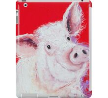 Happy Pink Pig on red iPad Case/Skin