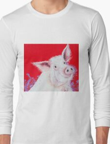 Happy Pink Pig on red T-Shirt
