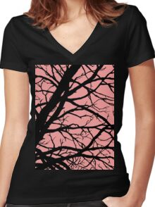 Bold Pink Tree Women's Fitted V-Neck T-Shirt
