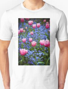 Pink Tulips in Blue Unisex T-Shirt