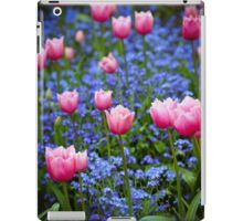 Pink Tulips in Blue iPad Case/Skin