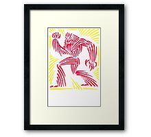 Bigfoot Woodcut Graphic Framed Print