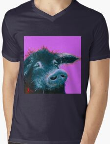 Happy Black Pig painting on purple Mens V-Neck T-Shirt