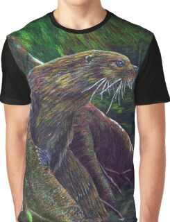 Colorful River Otter Graphic T-Shirt