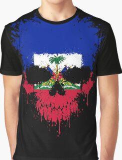 Chaotic Haitian Flag Splatter Skull Graphic T-Shirt