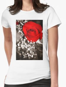 Black & White Red Rose Womens Fitted T-Shirt