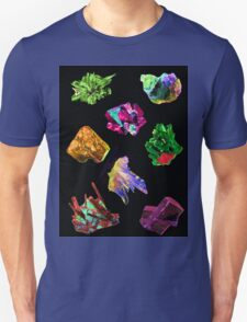 Colourful Crystal Pattern black background Unisex T-Shirt