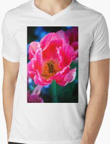 Pink Peony Mens V-Neck T-Shirt