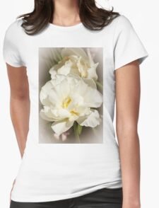 White Peony Womens Fitted T-Shirt