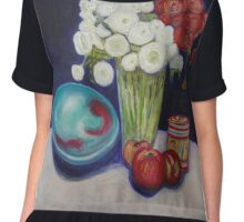 Still Life, Bowl, Flowers & Fruit Chiffon Top