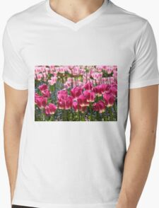 Fields of Pink Tulips Mens V-Neck T-Shirt