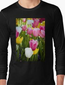 Pink White Yellow Tulips Long Sleeve T-Shirt