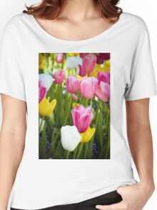 Pink White Yellow Tulips Women's Relaxed Fit T-Shirt