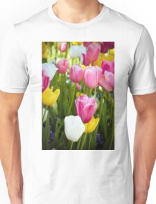 Pink White Yellow Tulips Unisex T-Shirt