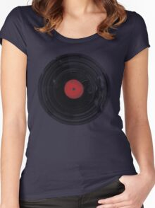 Vinyl Record Vintage Grunge Retro Women's Fitted Scoop T-Shirt