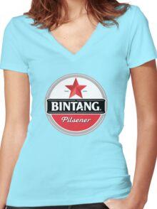 Bintang beer Women's Fitted V-Neck T-Shirt