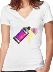 Spray paint - Pink Women's Fitted V-Neck T-Shirt