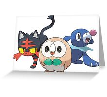 Pokemon Alola Starters Rowlet Littin Popplio Greeting Card