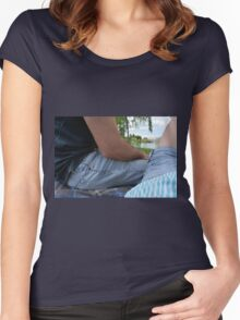 Couple on a date, sitting on a blanket in the park. Women's Fitted Scoop T-Shirt