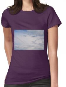 Light blue sky with white clouds. Womens Fitted T-Shirt