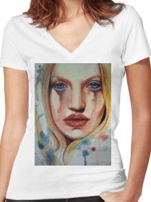 SAD GIRL Women's Fitted V-Neck T-Shirt