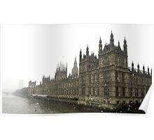Snowy Houses of Parliament. Poster