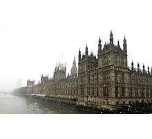 Snowy Houses of Parliament. Photographic Print