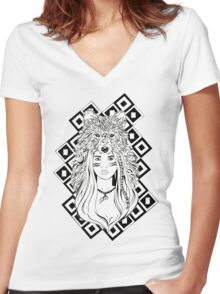 Wolf Head Dress Women's Fitted V-Neck T-Shirt