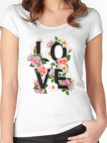 LOVE sign with flowers, roses, chamomiles and green leaves. Women's Fitted Scoop T-Shirt