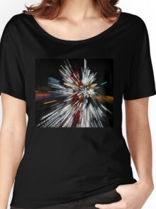 Abstract Christmas Lights in Red and White Women's Relaxed Fit T-Shirt