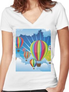 Air Balloons in the Sky 5 Women's Fitted V-Neck T-Shirt