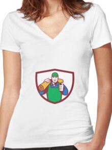 Carpet Layer Carry Mat Thumbs Up Shield Retro Women's Fitted V-Neck T-Shirt