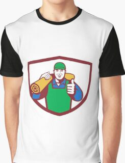 Carpet Layer Carry Mat Thumbs Up Shield Retro Graphic T-Shirt