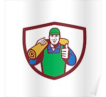 Carpet Layer Carry Mat Thumbs Up Shield Retro Poster