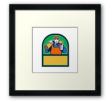 Carpet Layer Carry Mat Thumbs Up Half Circle Retro Framed Print