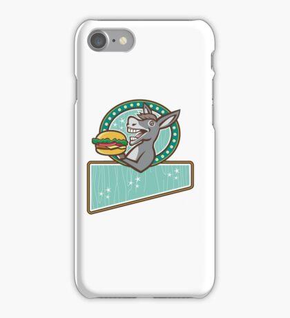 Donkey Mascot Serve Burger Rectangle Oval Retro iPhone Case/Skin